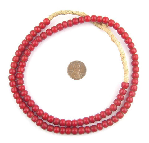 Cranberry Red White Heart Beads (7mm) - The Bead Chest