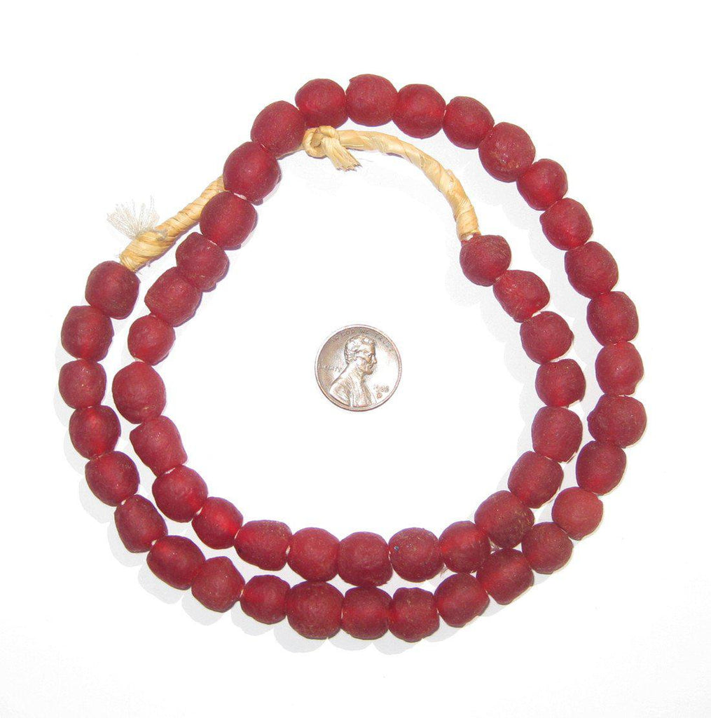 Deep Red Recycled Glass Beads (11mm) - The Bead Chest