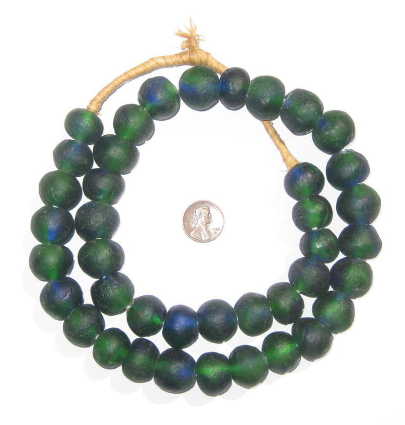 Blue Green Swirl Recycled Glass Beads (18mm) - The Bead Chest