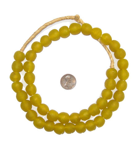 Yellow Recycled Glass Beads (14mm) - The Bead Chest