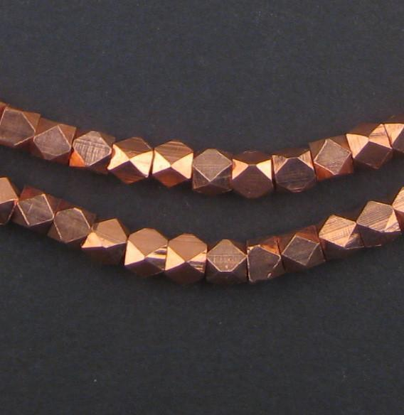 Diamond Cut Faceted Copper Beads (5mm) - The Bead Chest