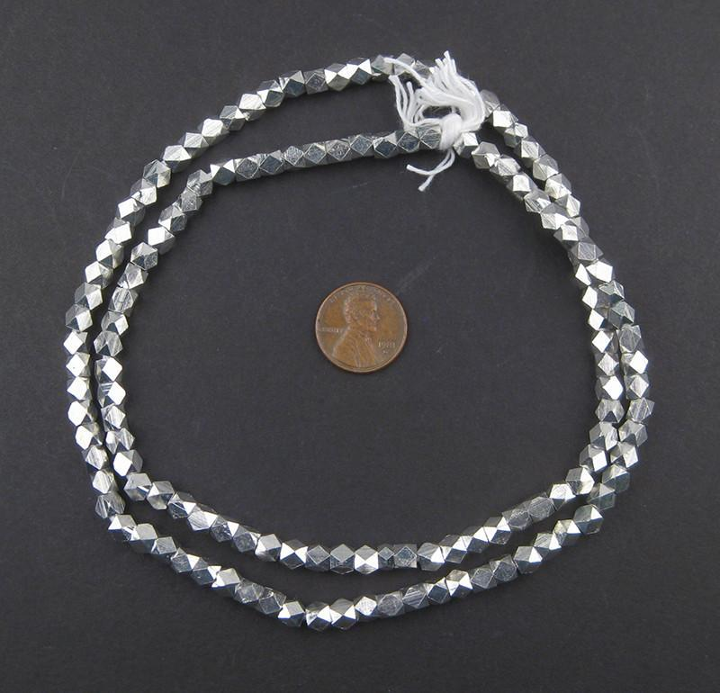Diamond Cut Faceted Silver Beads (5mm) - The Bead Chest