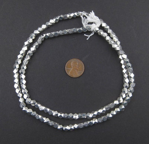 Image of Diamond Cut Faceted Silver Beads (5mm) - The Bead Chest