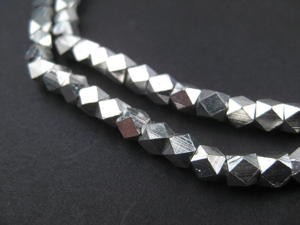 Diamond Cut Faceted Silver Beads (5mm)