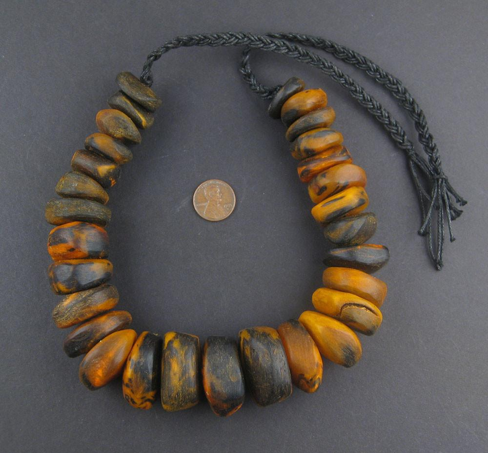 Dark Amber Color Moroccan Horn Beads - The Bead Chest