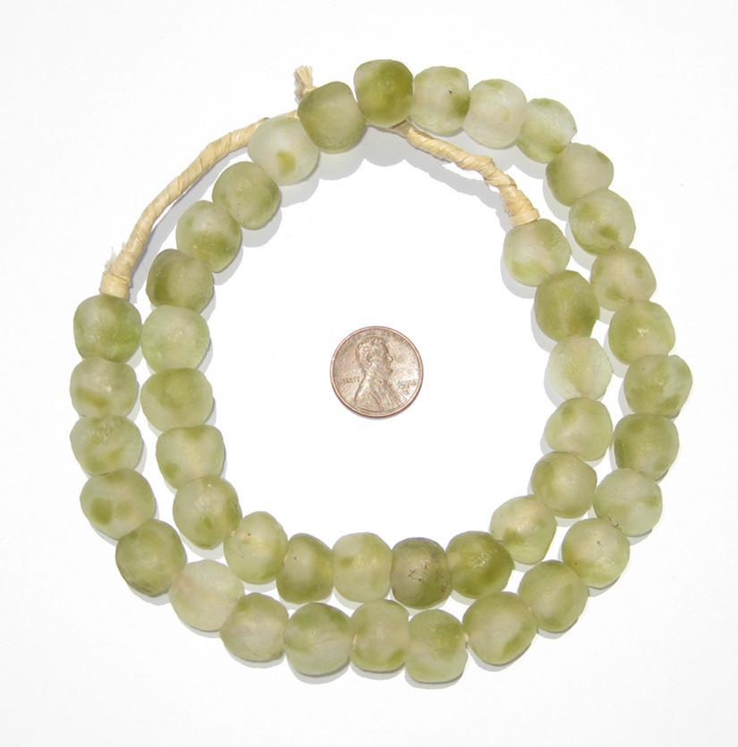 Olive Swirl Recycled Glass Beads (14mm) - The Bead Chest