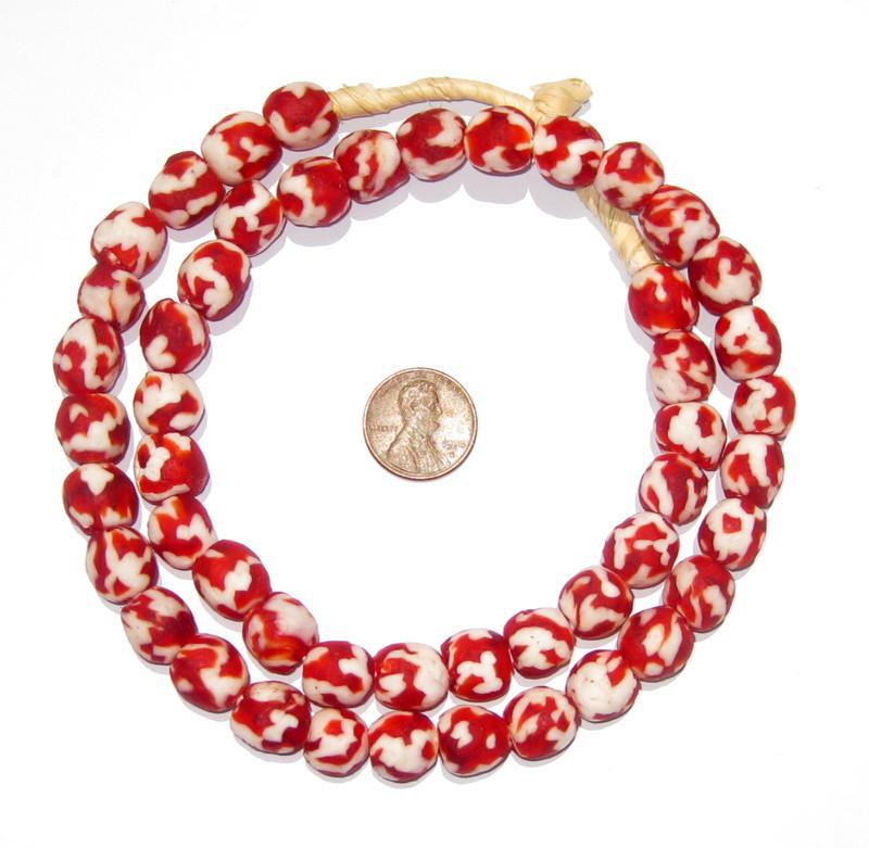 Crimson Red Fused Recycled Glass Beads (14mm) - The Bead Chest