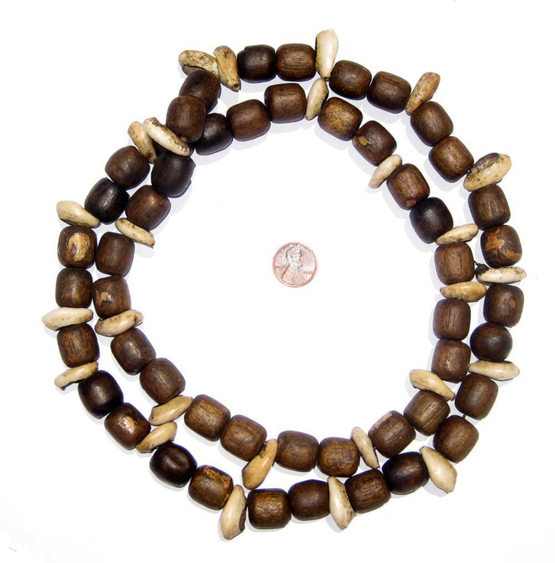Antique Wood & Shell Prayer Beads (Long Strand) - The Bead Chest