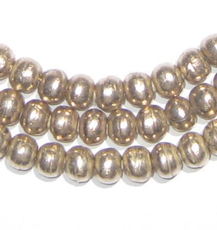 Round White Metal Ethiopian Beads (6mm) - The Bead Chest