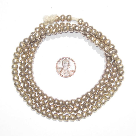 Image of Round White Metal Ethiopian Beads (6mm) - The Bead Chest