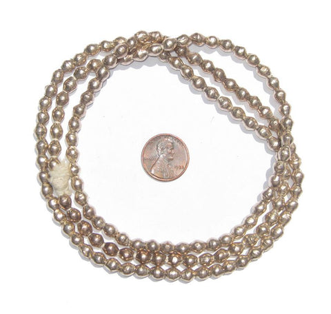 Ethiopian White Metal Bicone Beads (6x5mm) - The Bead Chest