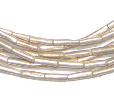 White Metal Tube Ethiopian Beads (2mm) - The Bead Chest