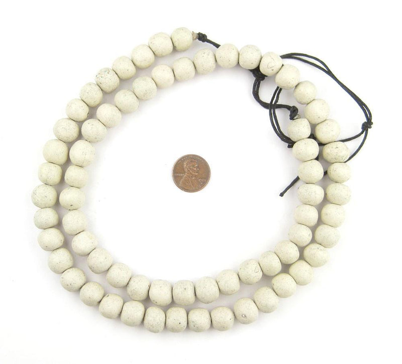 White Moroccan Pottery Beads (12mm) - The Bead Chest