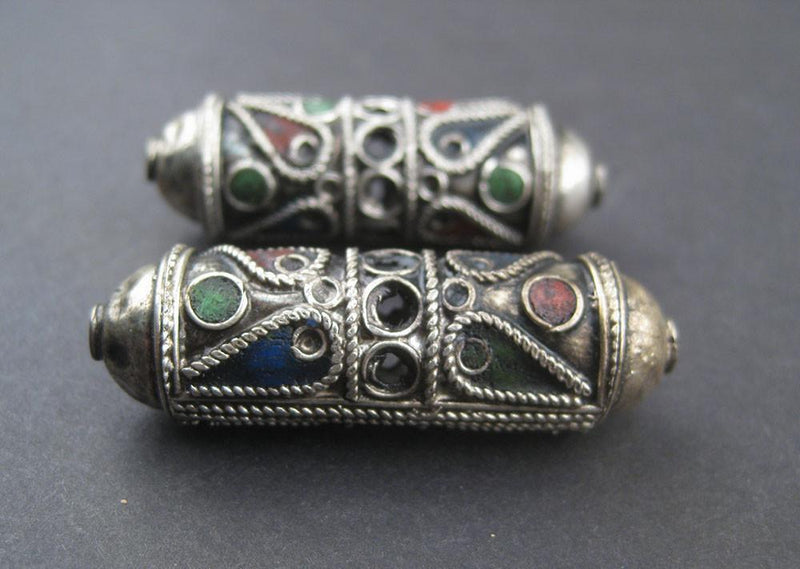 Elongated Artisanal Enameled Silver Berber Beads (Set of 2) - The Bead Chest