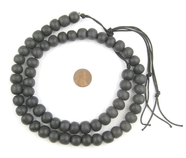 Black Moroccan Pottery Beads (12mm)