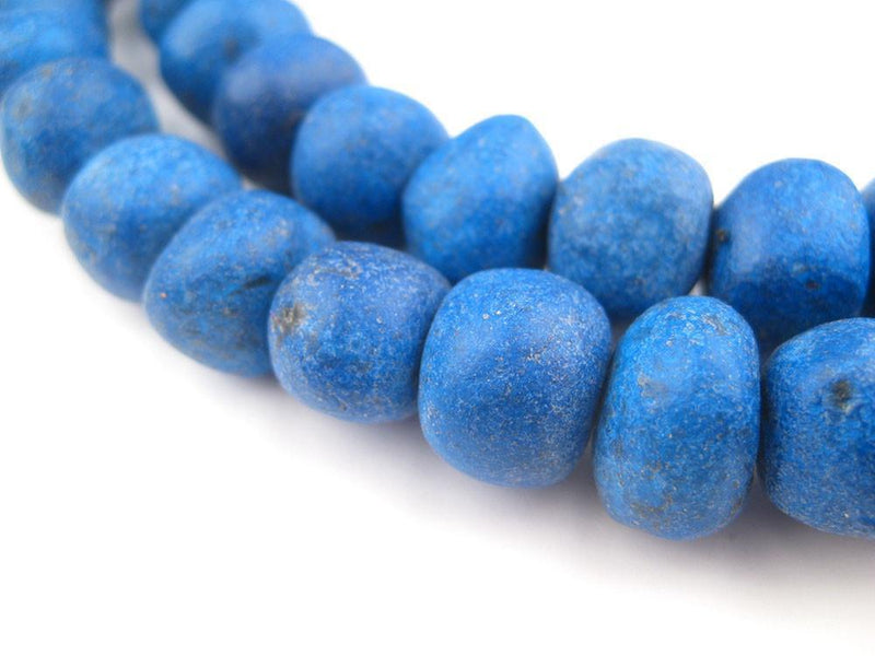 Deep Blue Moroccan Pottery Beads (12mm) - The Bead Chest