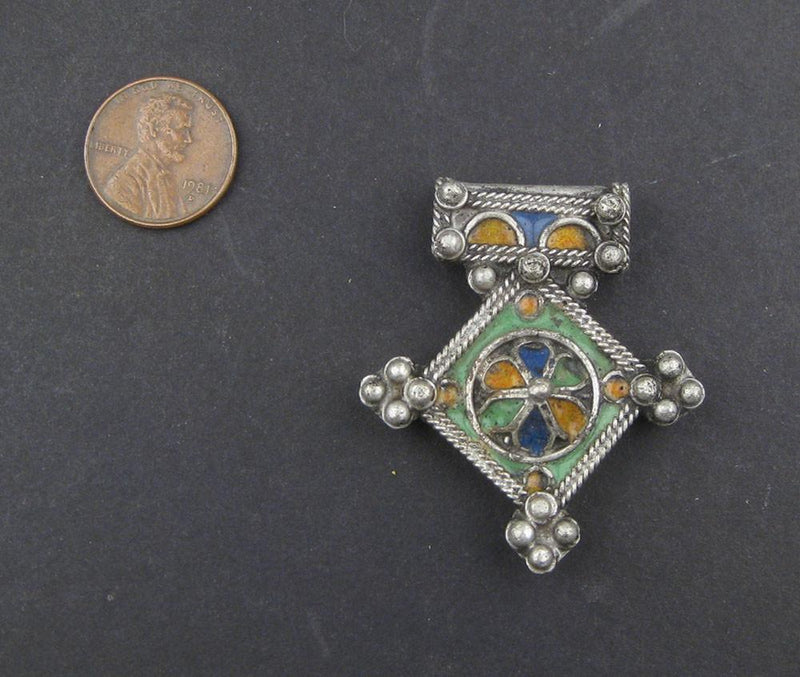 Multicolor Enameled Berber Cross Pendant (48 x 42mm) - The Bead Chest