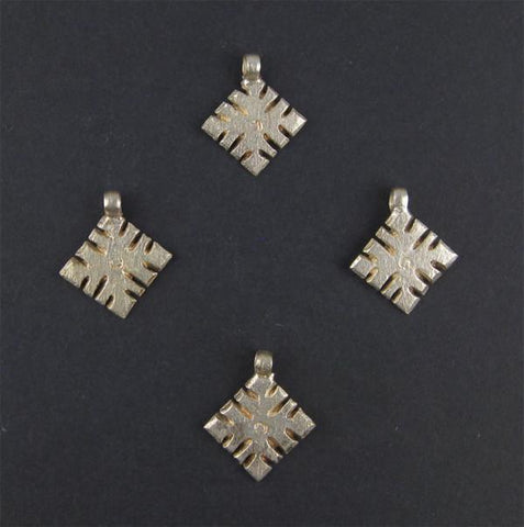 Image of Ethiopian Silver Snowflake Ornaments (Set of 4) - The Bead Chest