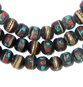 Black Inlaid Yak Horn Prayer Beads (8mm) - The Bead Chest