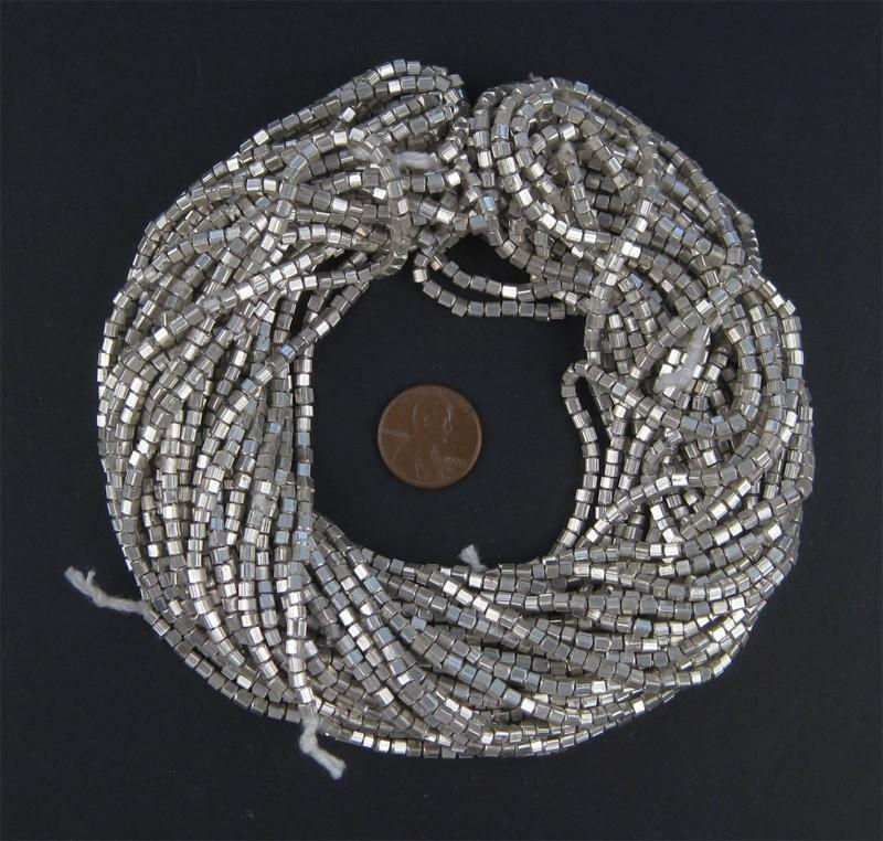 White Metal Mini Cube Beads (2mm) - The Bead Chest