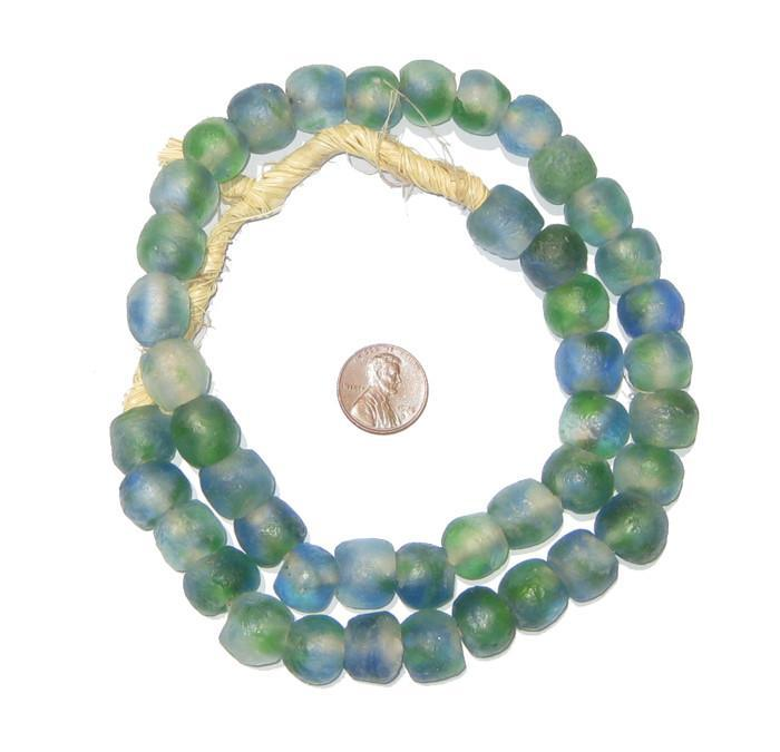 Light-Blue Green Swirl Recycled Glass Beads (14mm) - The Bead Chest