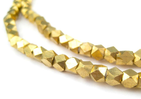 Diamond Cut Faceted Brass Beads (4mm)