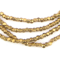 Diamond Cut Faceted Antiqued Brass Beads (3mm)