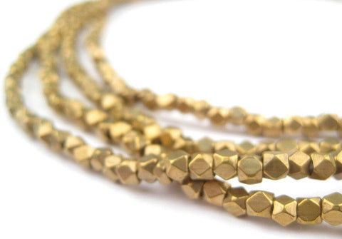 Image of Diamond Cut Faceted Antiqued Brass Beads (3mm) - The Bead Chest