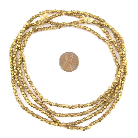 Diamond Cut Faceted Antiqued Brass Beads (3mm) - The Bead Chest
