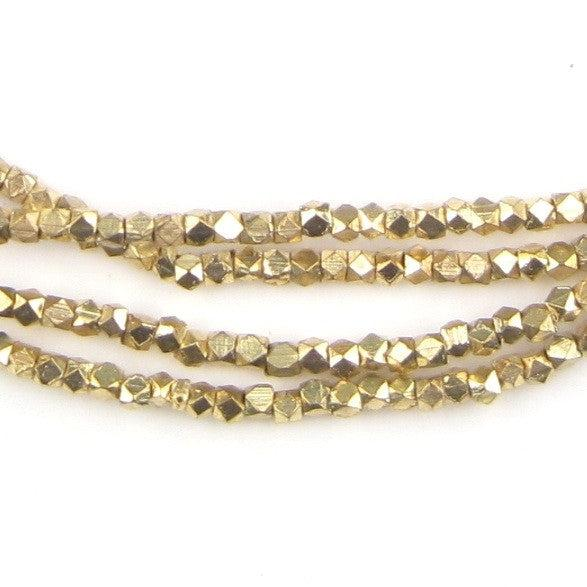 Tiny Diamond Cut Faceted Gold Color Beads (2mm) - The Bead Chest