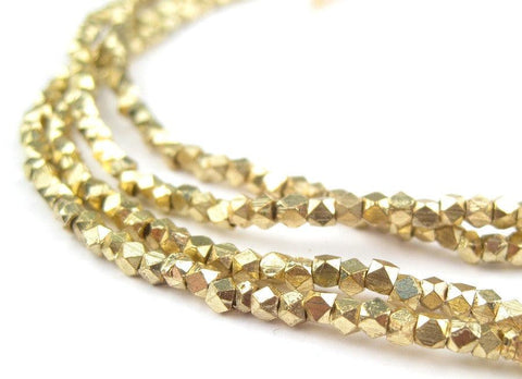 Image of Tiny Diamond Cut Faceted Gold Color Beads (2mm) - The Bead Chest