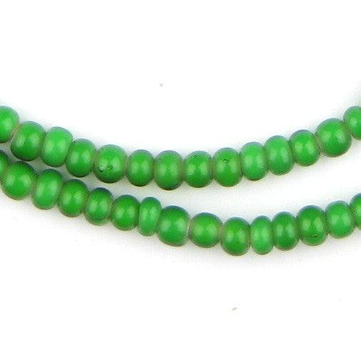 Green White Heart Beads (4-5mm) - The Bead Chest
