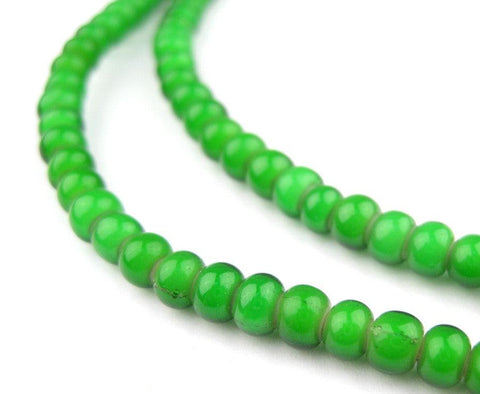 Green White Heart Beads (4mm) - The Bead Chest