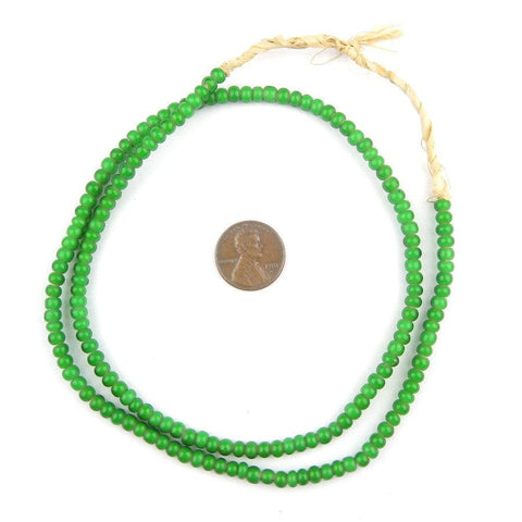 Image of Green White Heart Beads (4mm) - The Bead Chest