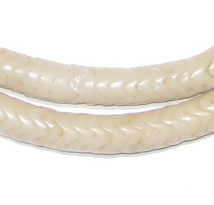 Bone White Glass Snake Beads (9mm) - The Bead Chest
