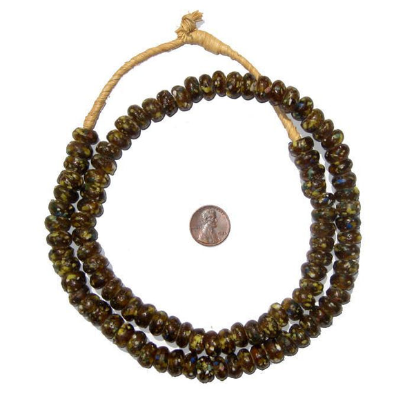 Brown Mosaic Rondelle Recycled Glass Beads (Long Strand)