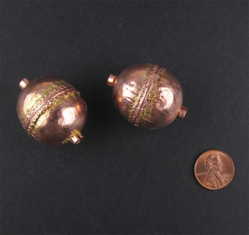 Jumbo Artisanal Ethiopian Copper Bead (Set of 2) - The Bead Chest