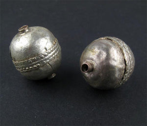 Jumbo Artisanal Ethiopian Silver Bead (Set of 2) - The Bead Chest