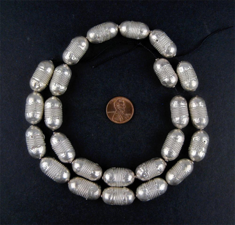 Elongated Fancy Coin Metal Beads (22 Count) - The Bead Chest