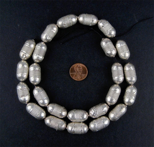 Elongated Fancy Coin Metal Beads (22 Count)