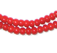 Red White Heart Beads (6mm)