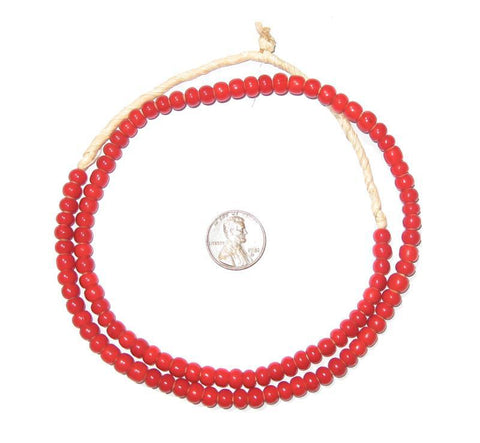 Red White Heart Beads (6mm) - The Bead Chest