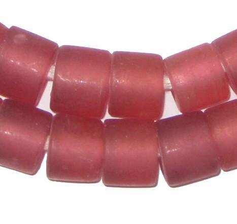 Image of Fuschia Recycled Glass Beads (Tabular) - The Bead Chest