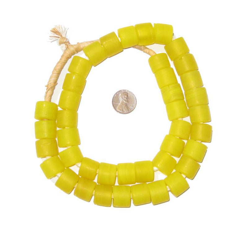 Yellow Recycled Glass Beads (Tabular) - The Bead Chest