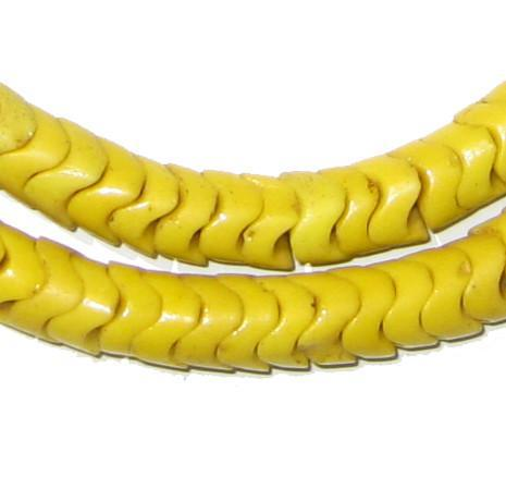 Glass Snake Beads, Vibrant Yellow (Large) - The Bead Chest