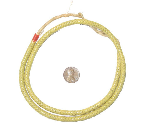 Glass Snake Beads, Light Yellow (6mm) - The Bead Chest