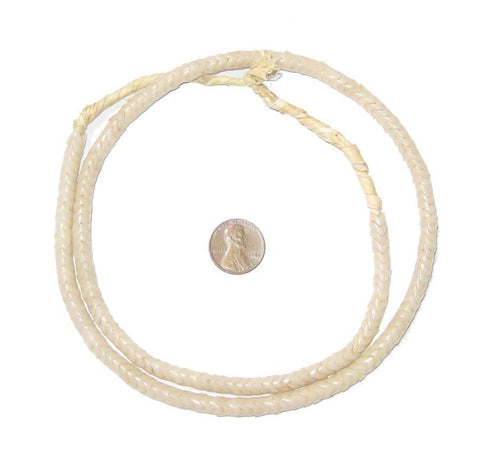 Glass Snake Beads, Bone Color (Small) - The Bead Chest