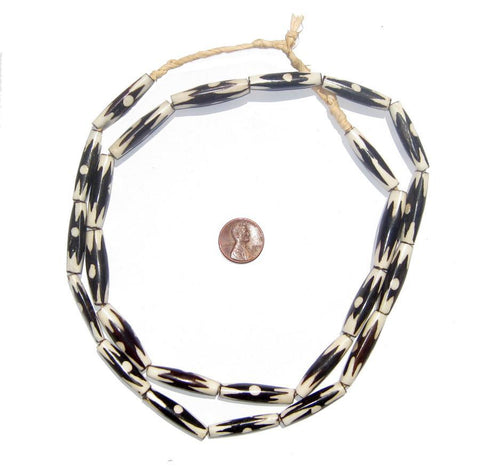 Inverted Zig-Zag Dot Batik Bone Beads (Elongated) - The Bead Chest