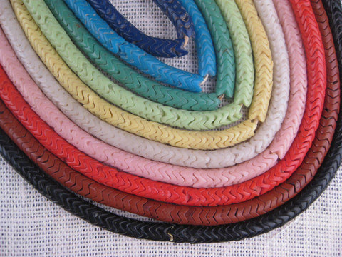 Image of Set of 10 Strands Old Glass Snake Beads (Large) - The Bead Chest