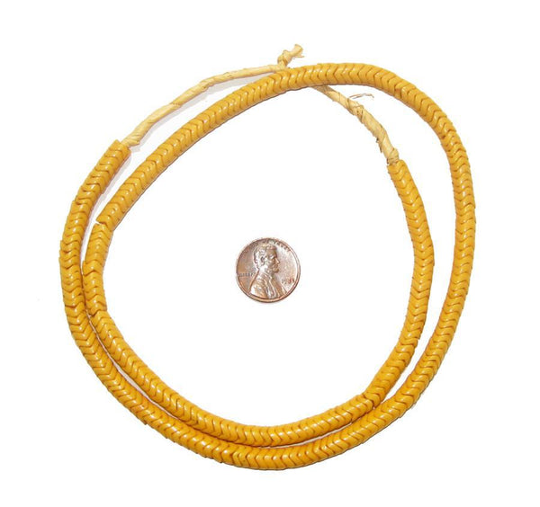 Glass Snake Beads (Mango Color - 6mm)